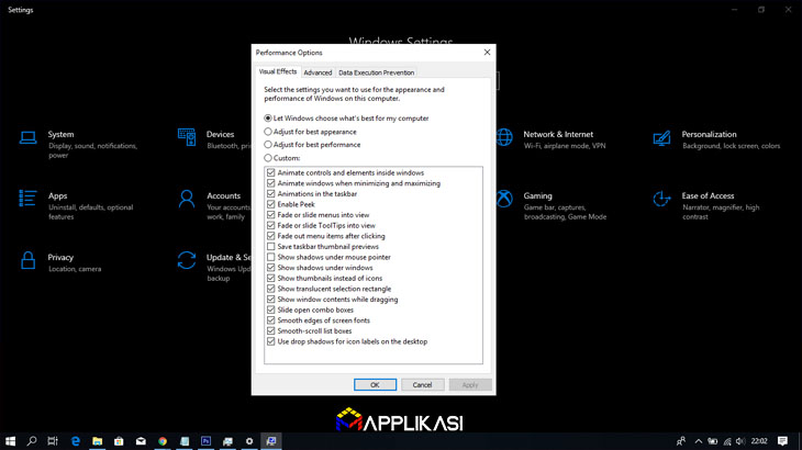 Cara Mempercepat Windows 10- disabel spesial effect