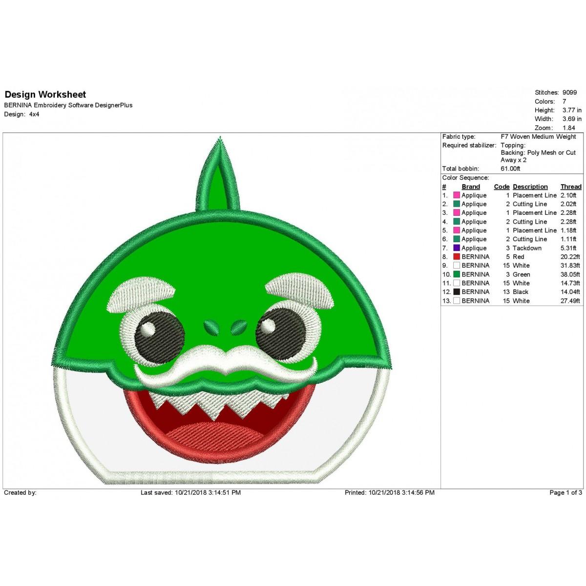 Baby Shark Peeker Grandpa Shark Applique Design