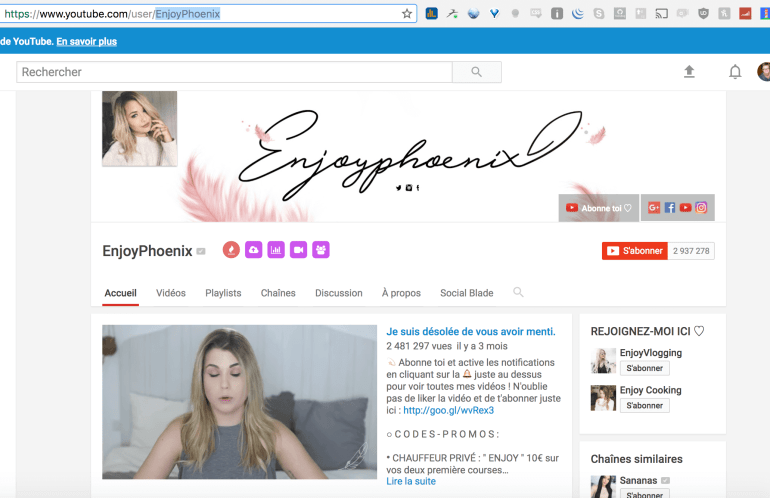chaine youtube enjoyphoenix
