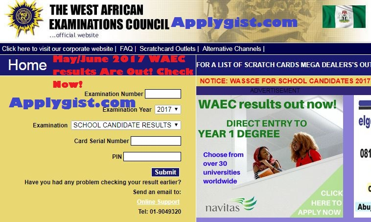 May/June 2017 WAEC results Are Out! Check Now!