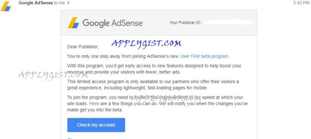 AdSense User First beta program