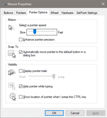 Mouse Settings in Windows