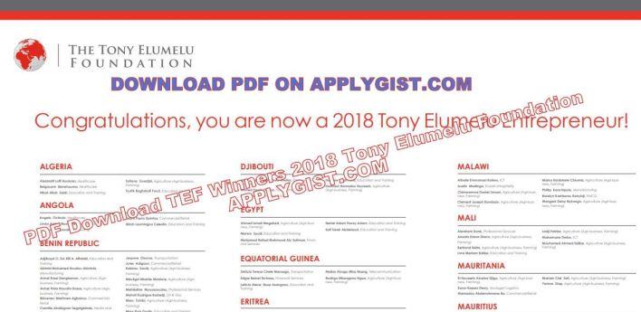 PDF TEF 2018 WINNERS LIST