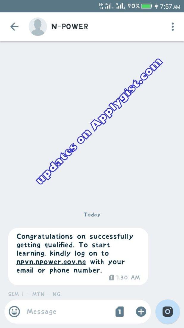 I got Npower MESSAGE