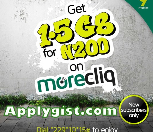 Get 9Mobile 1.5GB data for N200
