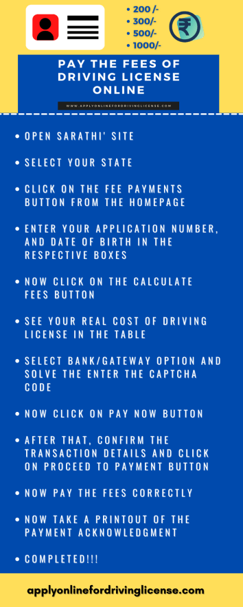 pay driving license fees in india