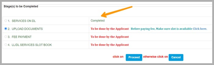 the completed process of driving license renewal online