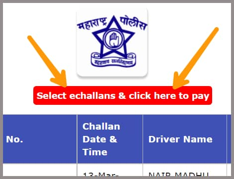 selecting the echallans and clicking the red button to pay the traffic challan online in Maharashtra