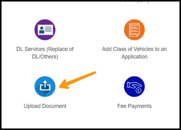 clicking on the upload button to upload documents for international driving license in india