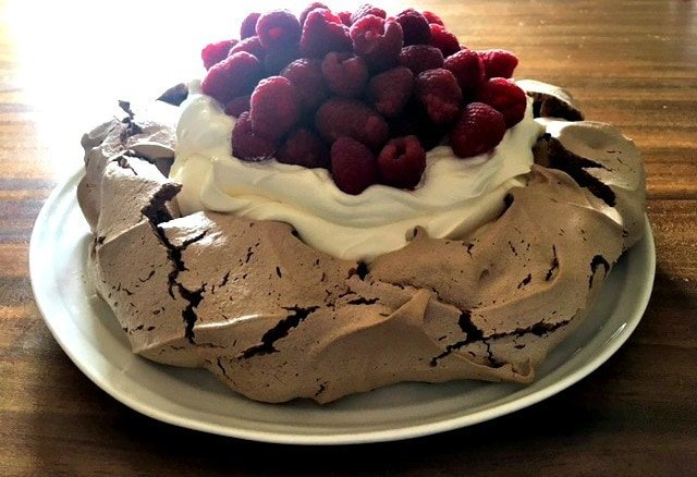 Chocolate and Raspberry Pavlova