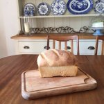 white bread on a wooden board