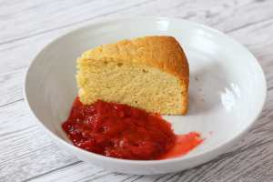 Delicious Madeira Cake and Strawberry and Rhubarb Compote.