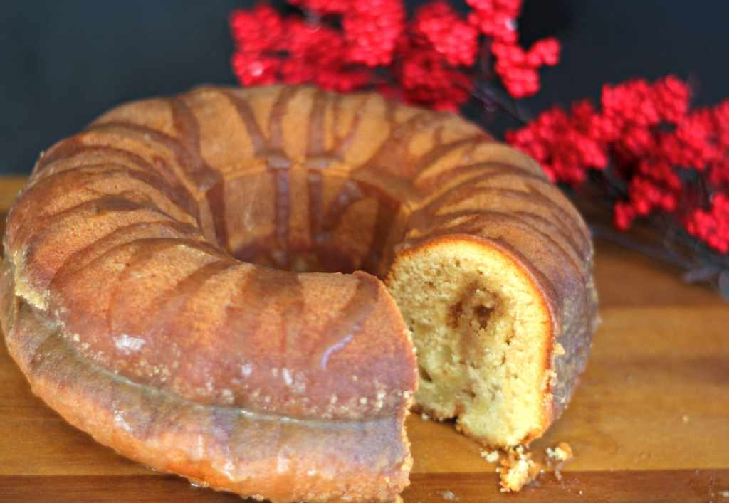 Cinnamon Bundt Cake moist with cinnamon syrup.