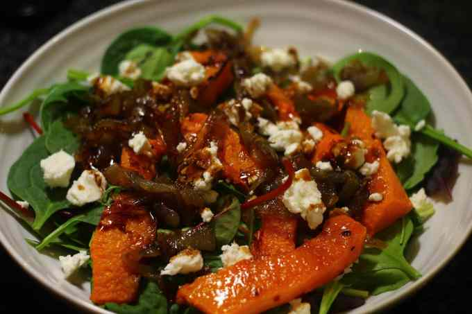 Roast Butternut Squash Salad with Feta and Caramelised Onions
