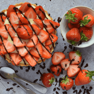 Strawberry Tart with Creme Patisserie .