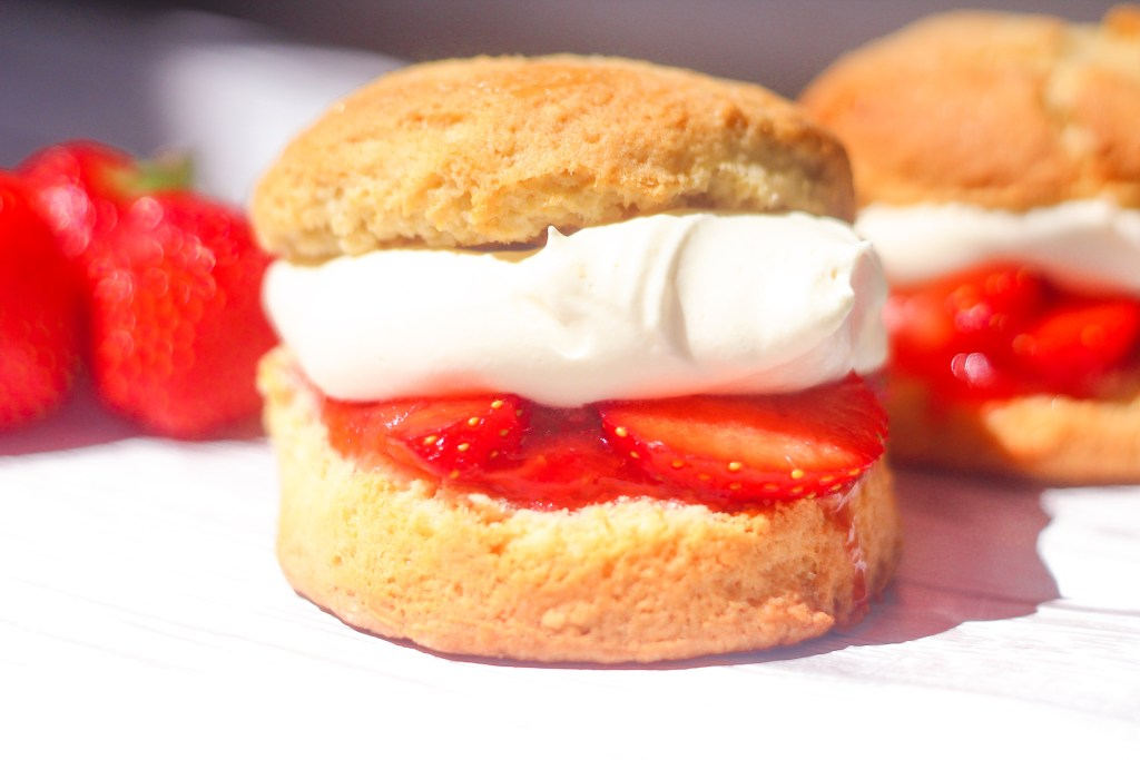 Strawberry Shortcake with Strawberry Jam and Whipped Cream.