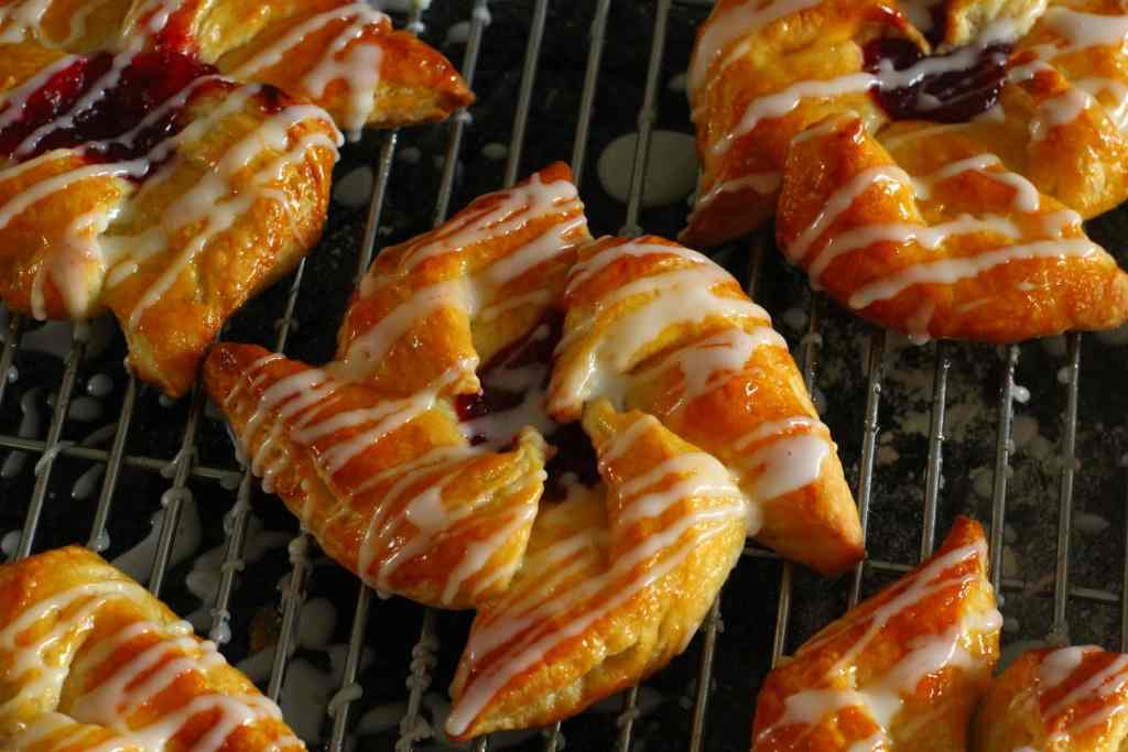 Glazed and Iced Danish Pastry Pin Wheels