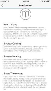smart home fan auto comfort screenshot