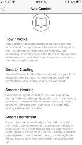 smart home fan auto comfort screenshot