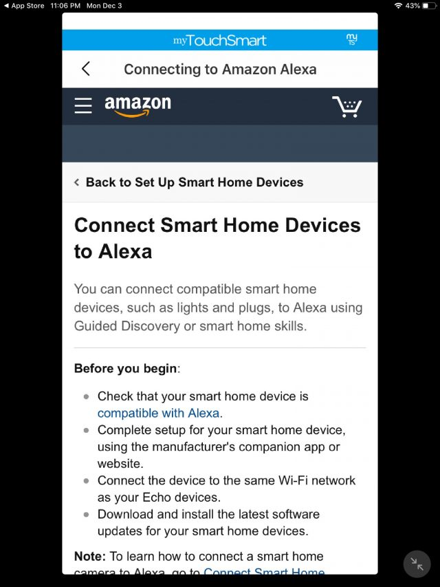 myTouchSmart App connecting to Alexa