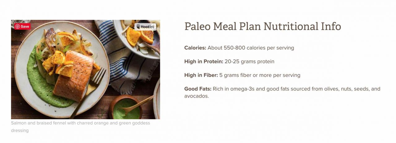 Sun Basket Paleo Nutritional Info