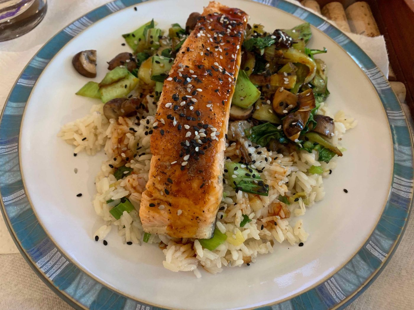 Blue Apron Seared Salmon & Garlic-Scallion Rice
