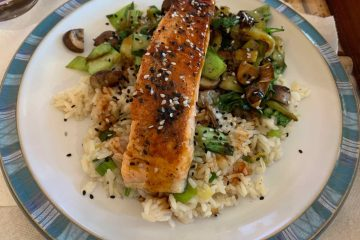 Blue Apron Seared Salmon & Garlic-Scallion Rice