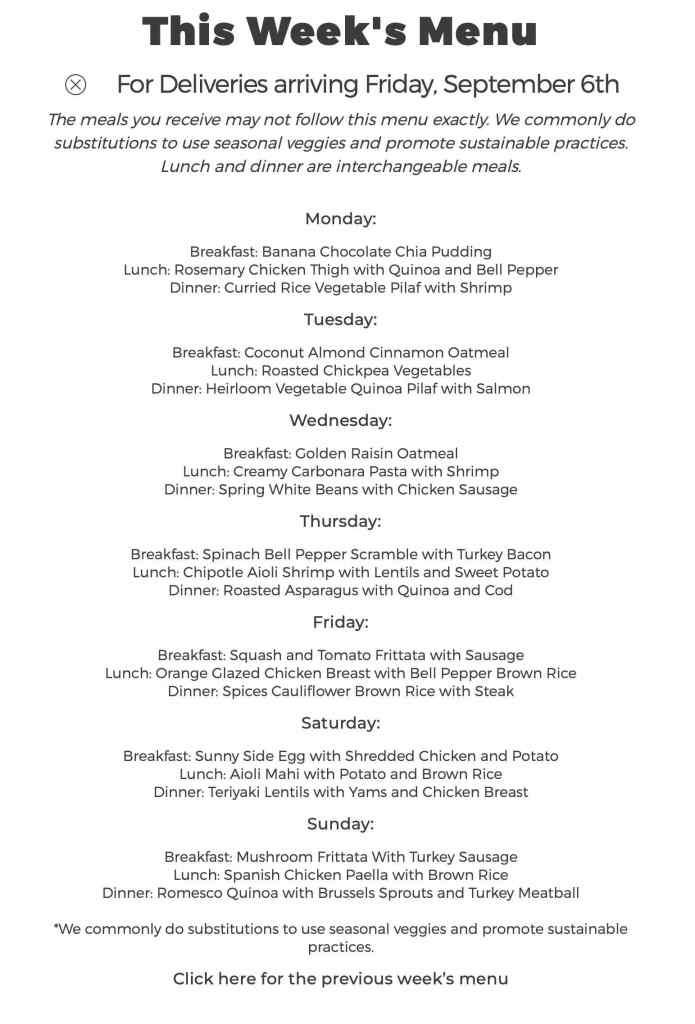 Trifecta weekly menu example
