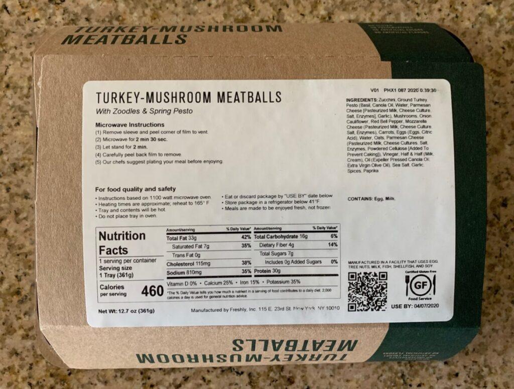 Freshly Turkey Meatballs Nutrition Facts