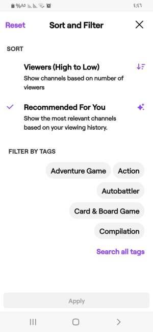 فلترة الألعاب في تطبيق twitch