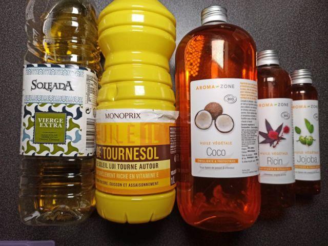 Huiles utilisée pour le savon à la purée d'avocat : olive, coco, tournesol, jojoba et ricin.