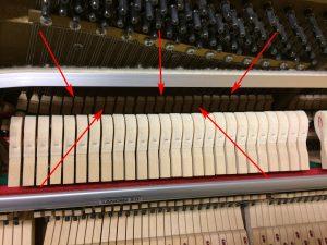 Les étouffoirs d'un piano droit