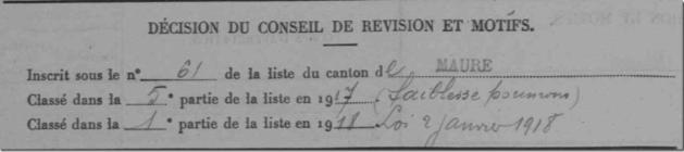 Décision du conseil de révision 1918