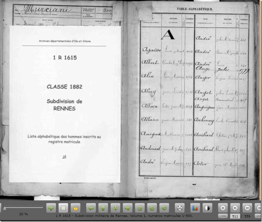 Table alphabétique registre matricule