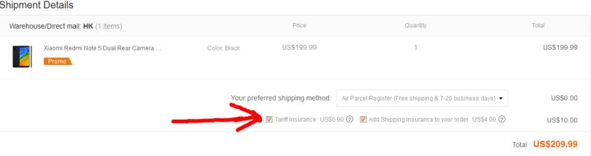 Screenshot Commande assurance banggood