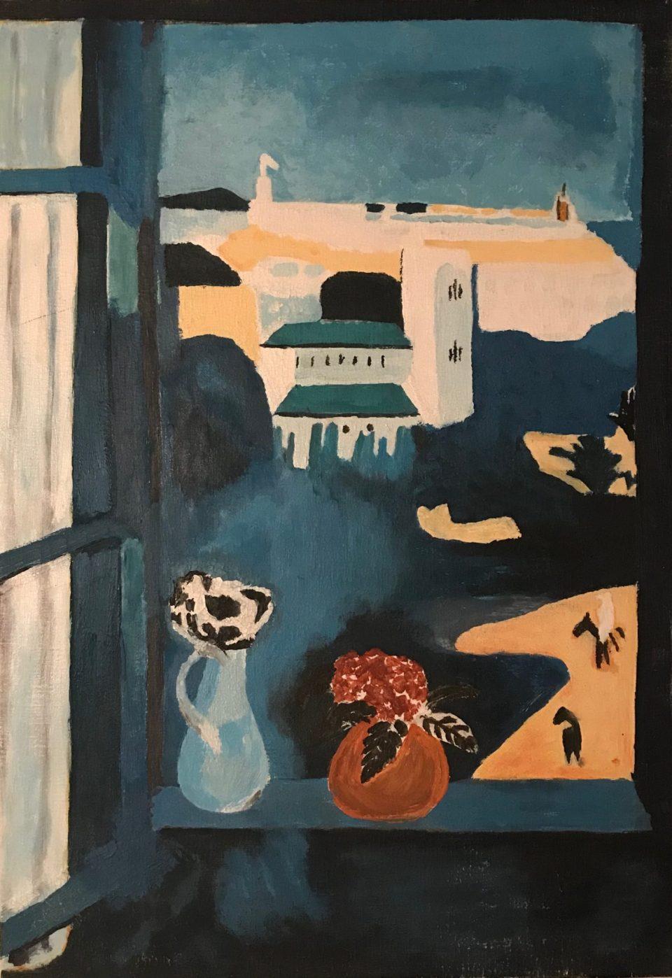 Il s'agit de ma première reproduction que j'ai réalisé à l'acrylique sur un papier entoilé marouflé (=collé) sur un panneau de bois. A l'origine, le modèle est une huile sur toile réalisée à Tanger par Henri Matisse. Il est donc tout à fait possible de reproduire une oeuvre de grand maître à l'origine à l'huile avec de la peinture acrylique.