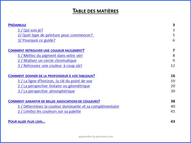 Table des matières du guide Bien débuter en peinture. Ce guide détaille les solutions aux 3 difficultés rencontrées par les débutant en peinture