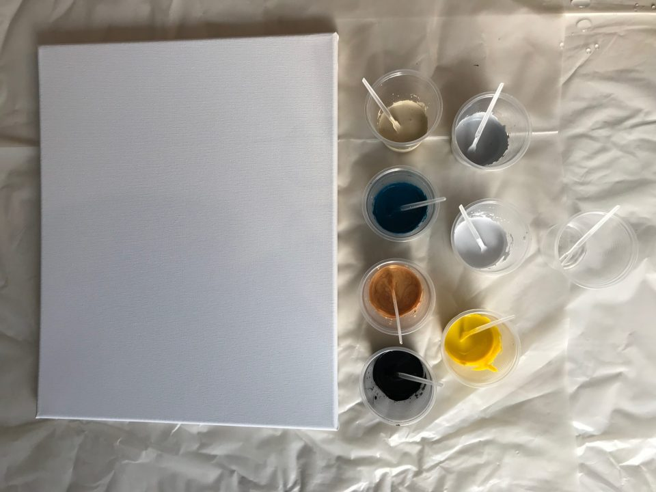 Préparer ses couleurs et vérifier leur consistance avant de procéder à l'acrylique pouring