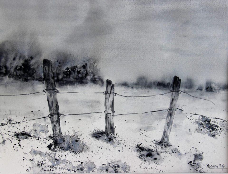 L'hiver est arrivé, aquarelle de Michèle Guillet