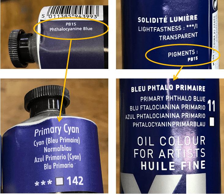 différence de nom de couleur pour un même pigment