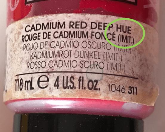 Mention HUE ou IMIT sur les tubes de peinture pour imitation de la couleur d'origine