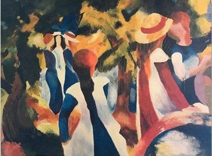 Jeunes filles sous les arbres d'après August Macke (1914)