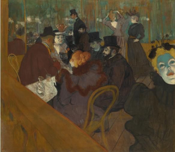 Au Moulin Rouge de Henri de Toulouse-Lautrec reflète bien son style artistique