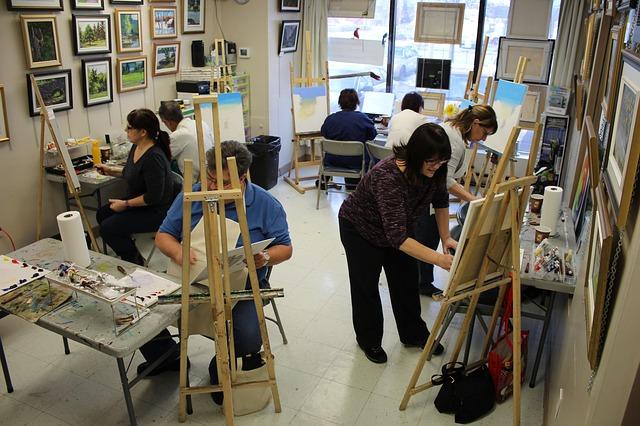 Cours de peinture en atelier