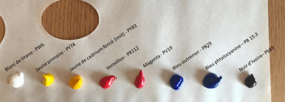 palette restreinte position de chaque couleur une technique de peinture
