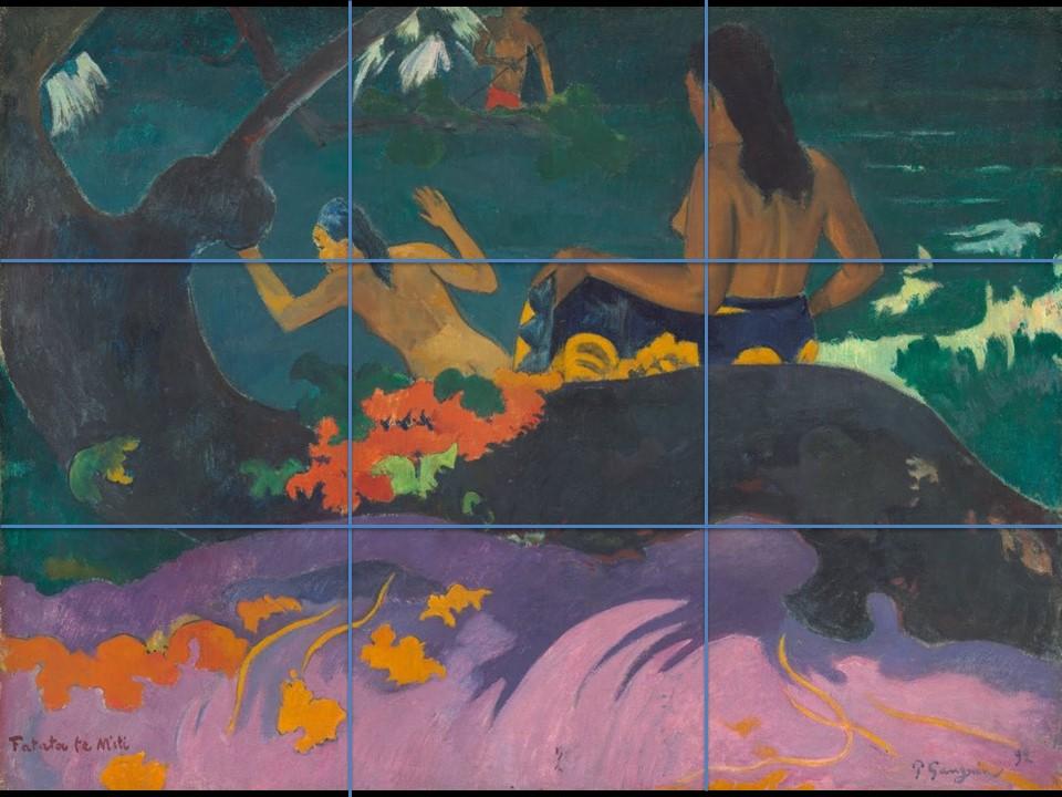 composition avec l'application de la règle des tiers sur la peinture de Gauguin Fatata te miti