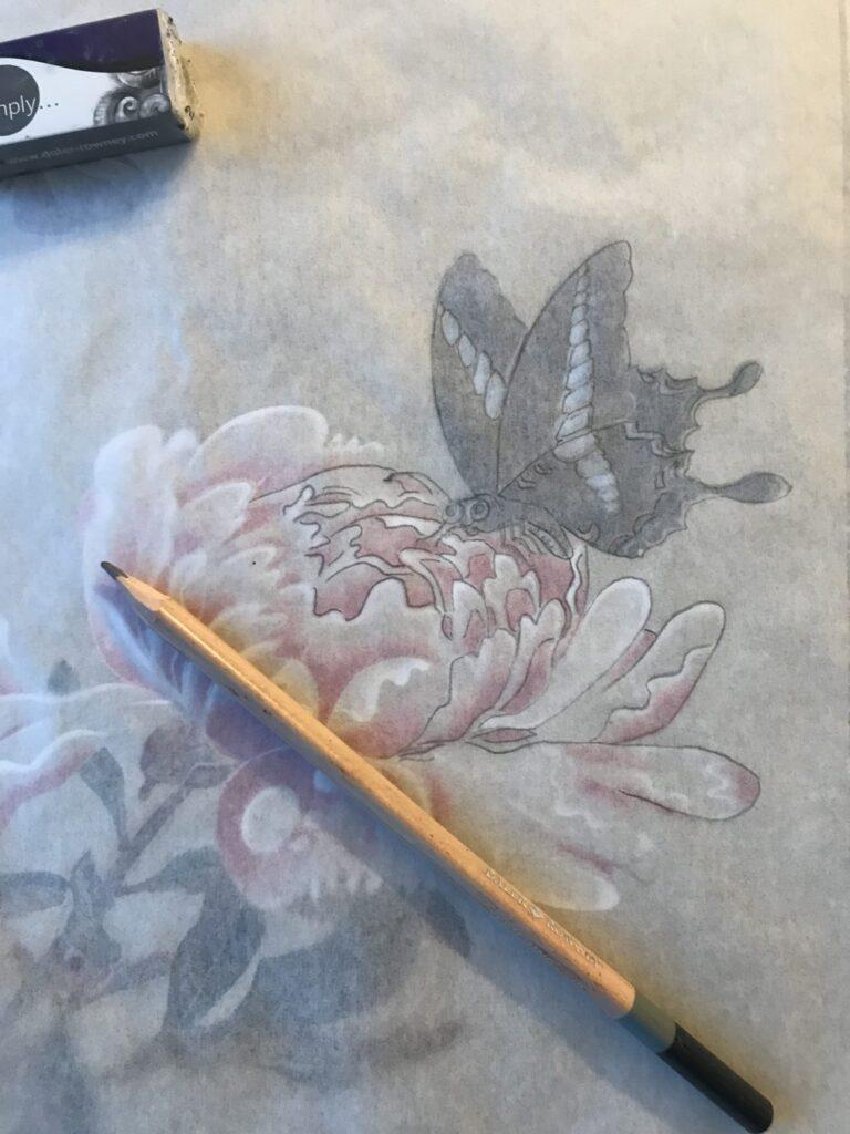 une des méthodes pour un dessin parfait de l'estampe de Jakuchu