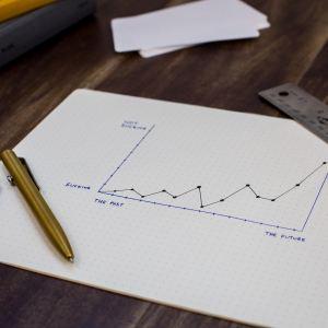 graphique avec une courbe montante