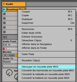 Découper nouvelle piste MIDI