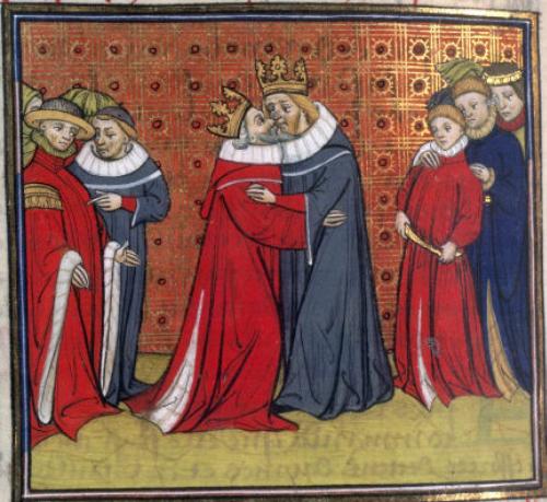 la bise protocole french kiss air kiss aristocratie bienséance manières étiquette Hommage roi de France et d'Angleterre